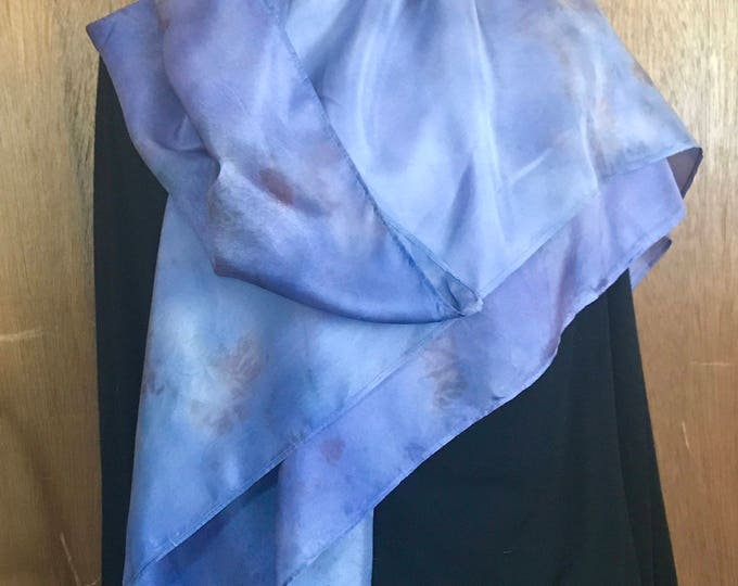 Elderberry naturally dyed silk scarf square. Beautiful purple and blue colors