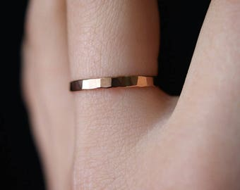 SOLID Rose Gold Stack ring, One Single Rose Gold stacking ring, stackable ring, thick ring, hammered rose gold ring, rose gold band, 14K