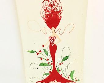Platter. Holly. Holly Mermaid Rectangular Platter. Sea. Red. Plate. Handmade by Sara Hunter.