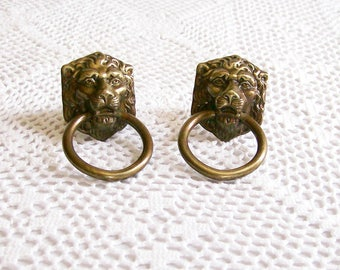 Vintage Brass Ring & Lion Drawer Pulls Set of 2 Mid-Century Regency Decor aged Patina