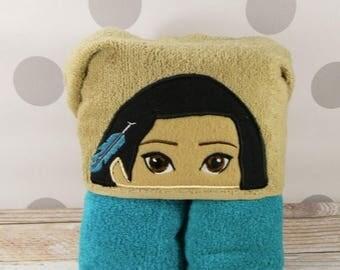Toddler Hooded Towel - Pocahontas Hooded Towel - Indian Princess Pocahontas Towel for Bath, Beach, or Swimming Pool