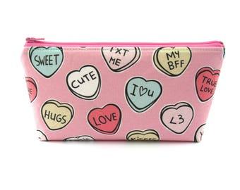Love Heart Candy Makeup Bag Cosmetic Bag Fun Gift for Teen Pencil Case