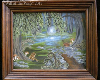 Will of the Wisp painting framed original art wall hanging swamp bog marsh fairy lights foxfire woodland faerie orb enchanted dark hollow