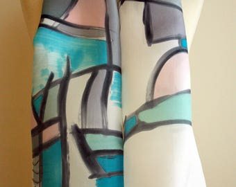 """Hand Painted Silk Scarf. Braque style silk scarf. Hand Painted Silk Shawl.Wedding Gift. Silk Art. 55""""x18""""  (140x45 cm) Ooak scarves"""