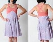 SALE Summer floral dress, Blue and pink floral sundress with crossed straps, Floral summer dress, size FR 40 / UK 12
