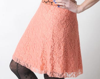 Coral pink lace skirt, stretchy lace skirt, short salmon orange skirt, Short womens skirt, Salmon pink jersey skirt, MALAM, size UK10 to 12