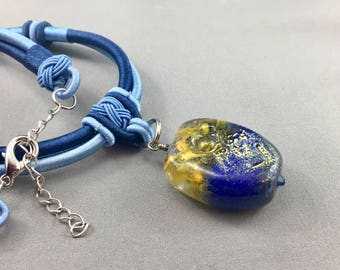 lampwork bead necklace, blue yellow jewelry, asian style necklace, enameled glass pendant, blue necklace, glass bead jewelry, adjustable