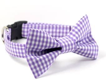 Purple Gingham Bowtie Dog Collar
