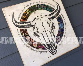 Bohemian, Free Spirit, Vintage-looking upcycled wood & mosaic sign, hand made, hand painted