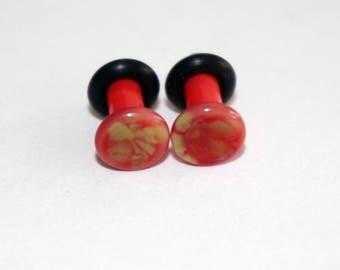 8g Pink and Green Pattern Glass ear plugs body JEWELRY 3mm handmade 8 gauge