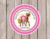 Pink Cowgirl and Pony Favor Tags or Stickers / Pink and Brown Labels Personalized with Name / Choose Cowgirl Hair & Skin Color / Set of 12