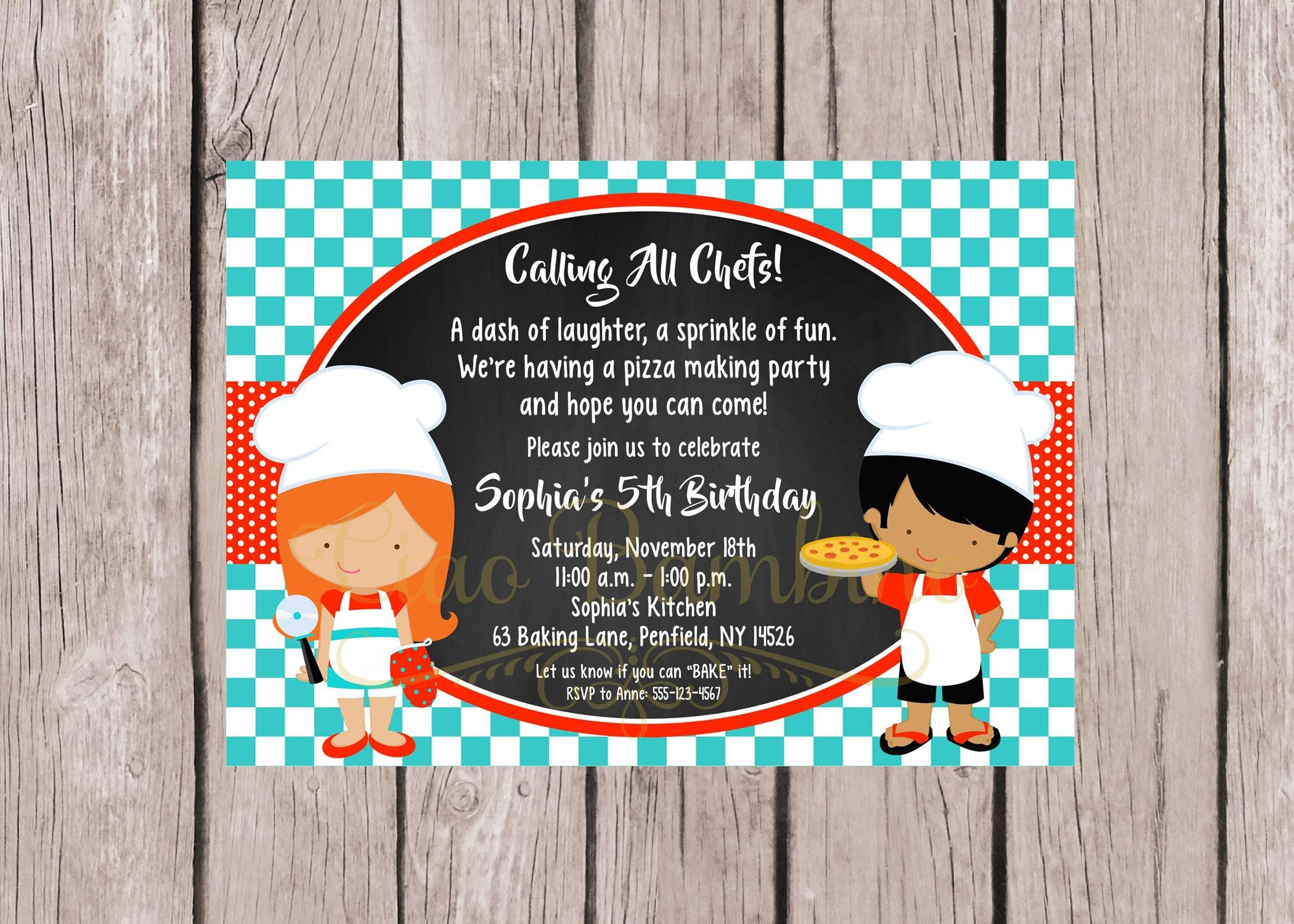 PRINTABLE Little Chef Birthday Party Invitation / Pizza