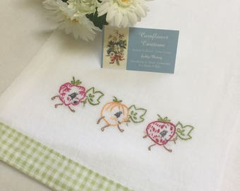 Happy Fruits Hand Embroidered Tea Towel