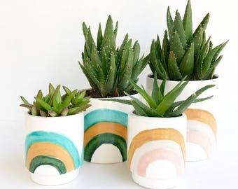 Rainbow Ceramic Planters Pots