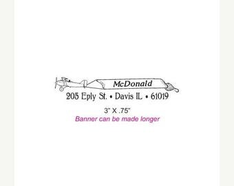 Xmas in July Plane Towing a Sign Custom Rubber Stamp AD269 or 143