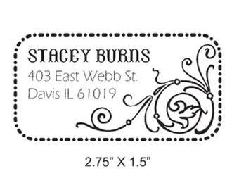 Xmas in July Custom Flourish Return Address  Rubber Stamp AD16