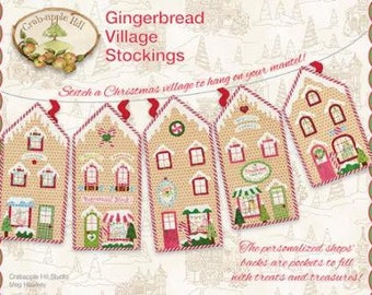 Gingerbread Village Stockings - By Meg Hawkey - From Crab-Apple Hill (445) - 9.00 Dollars
