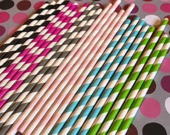 Striped Straws, Pink Striped Straws, 25 Paper Straws in Aqua, Green and Magenta and White, blue ans white Straw, colorful Drinking Straws