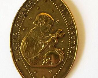 Antique Religious Medal St Louis Gonzaga Virgin Mary 1800s Lg
