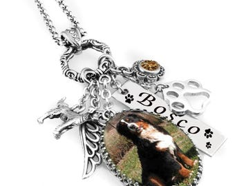 Personalized Pet Jewelry, Pet Necklace, Pet Pendant, Customized Pet Necklace with Photo