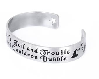 Witch Cuff Bracelet, Engraved cuff bracelet with witches and cauldron in stainless steel, comes in three sizes