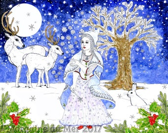 The Winter Fairy Fine Art Print Magical Fantasy Ink and Watercolour Illustration Yule Winter Solstice Full Moon White Deer and Rabbit Giclee