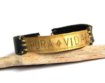 Etched Tribal Brass Stamped PURA VIDA and Black Leather Bracelet (B1346)