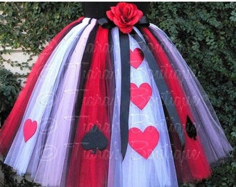 """SUMMER SALE 20% OFF Queen of Hearts - Adult Teen Pre-teen Costume Tutu - Custom Sewn Tutu - up to 36"""" long - For Halloween and Birthday"""