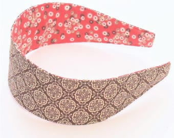 REVERSIBLE Brown and Cream Intricate Print Comfort Fit Fabric Headband