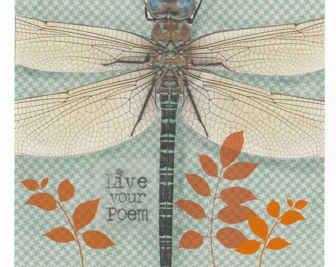 Dragonfly Collage Greeting Card