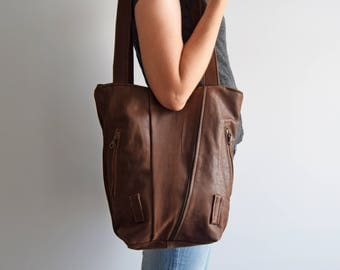 SAMPLE // Tote Bag brown leather eco friendly