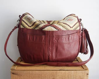 FURROW bag // brown leather slouchy hobo bag upholstery fabric