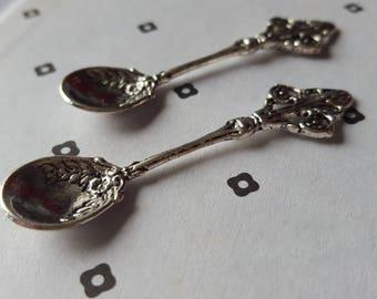 Big Antiqued Silver Spoon Charm Pendant 16x60mm (2)