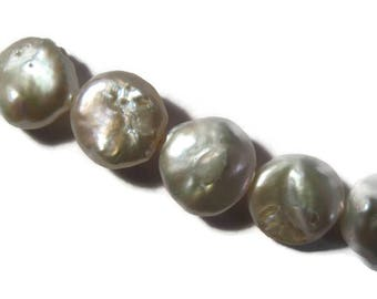 White Freshwater Pearls, Round, Flat, Coin Pearls, Imperfect Lot 12mm, Strand of 11 Natural Pearls for Making Jewelry (L-Mix13a)