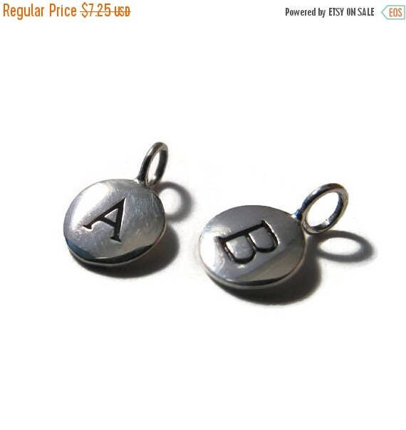 Summer SALEabration - Round Initial Charms, Sterling Silver Letter Charms, Shiny Silver Alphabet Pendants for Making Jewelry (A4)