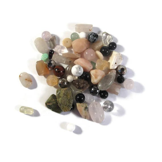 Gemstone Bead Mix, Brown, White, Cream, Green Gemstone Grab Bag, 55 Beads for Making Jewelry, Assorted Shapes and Sizes (L-Mix8a)