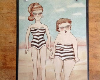 funny odd art, sandy mastroni illustration,  Barbie art , Bathing suit Barbie, beach art , weird humor, wall art, laminated, buttons,