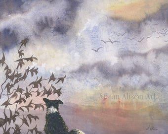 Border Collie dog 8x10 Susan Alison art print frm watercolor painting sheepdog tranquil landscape oriental atmosphere birds summer flight