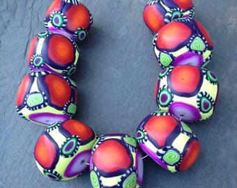 Reserved For Linda Set of Chunky Round Beads in Vibrant Colors Handmade Polymer Clay Artisan Jewelry Supplies