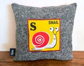 Baby Pillow, Letter S, Snail, Alphabet Pillow, Baby Boy Gift, Cot Pillow, Kids Decor, Baby Cushion, Nursery Decor, Boy Nursery, fede