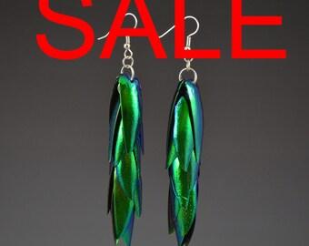 Jewel Beetle Earrings, 12 wing set, handmade jewel beetle wings elytra green earrings natural insect bug jewelry gift idea green