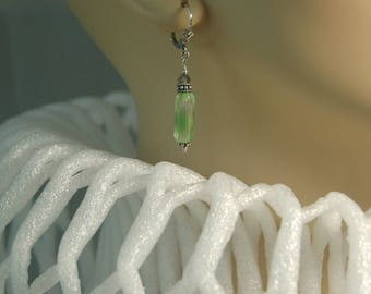 Unique green/clear/gray vintage Czech glass, Swarovski crystal and Bali sterling silver beaded, lever back pierced earrings