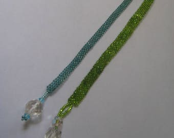 Book Marks, Hand Beaded green and blue