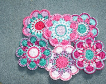6 handmade cotton thread crochet applique flowers -- 2629