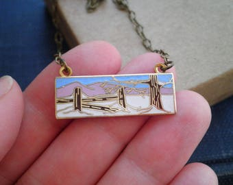Snow & Mountains Bar Charm Necklace - Vintage Enamel Cloisonne Pink Mountain + Tree Winter Nature Scape Bar Pendant - Jewelry Gift For Her