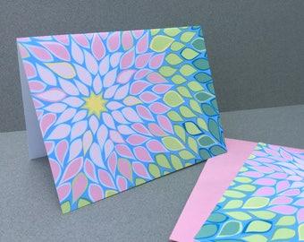 Dahlia Notecards, Pink Blue Green Flower Abstract Spring Summer starburst pattern