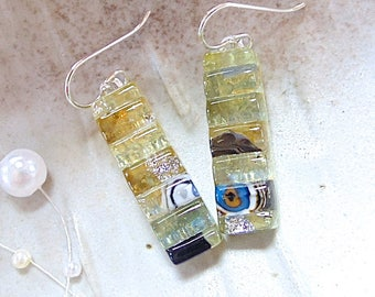 Amber Earrings, Light Gold, Black, Dichroic Earrings, Glass, Fused Jewelry, Dangle, Sterling Silver, Murrini Earrings, One of a Kind, A12