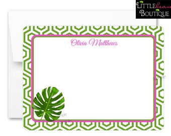 Tropical leaf Notecards, Tropical leaf Stationery, Flat notecards,Tropical leaves, Thank you Notes, Wedding stationary, bridal notecards