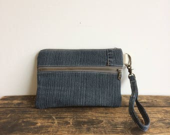 Casual Clutch - Double Zip Pouch - reclaimed dark denim jeans - upcycled - one-of-a-kind