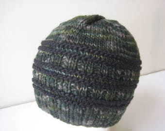 camo hand knit wool hat green cap